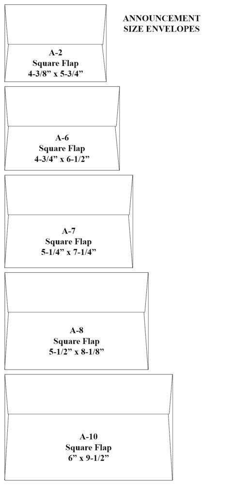 Announcement Style Envelopes Sizing Chart