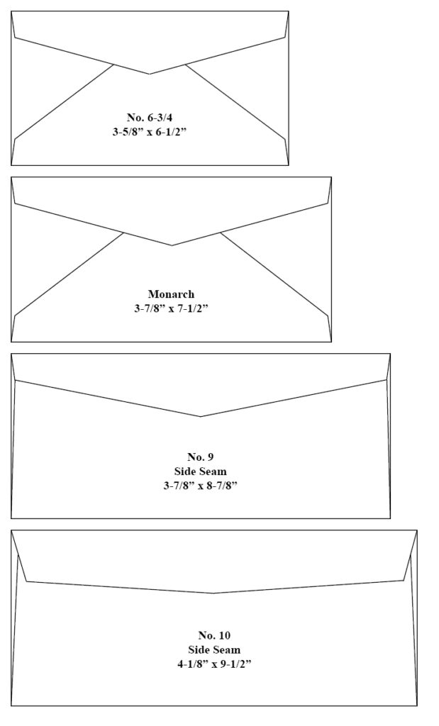 Common Commercial Envelopes Size Chart